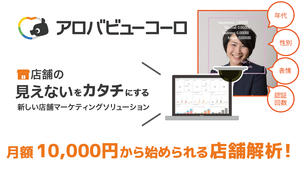 店舗の見えないをカタチにする 新しい店舗マーケティングソリューション(年代・性別・表情・認証回数) 月額10,000円から始められる店舗解析